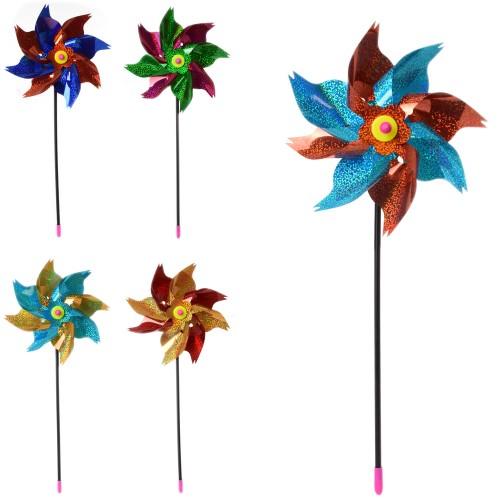 Ветрячок M 6111 (200шт) размер средний23см, цветок, на палке 40см, фольга, микс цветов