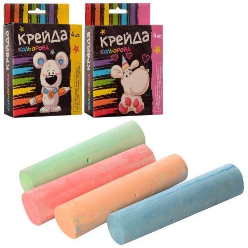Мел MK 0096 (108шт) 4 шт, большой, цветной (4 цвета), 2 вида, в кор-ке, 10,5-13,5-2,5см