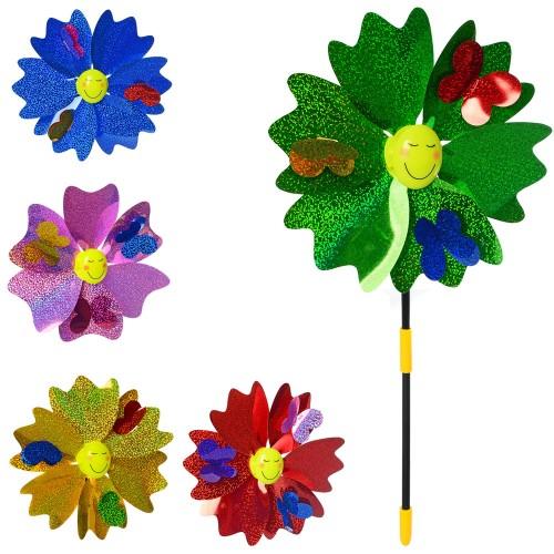 Ветрячок M 6246 (120шт) диам.23см, цветок, на палочке36см, фольга, 5цветов,в кульке, 24-28-3см
