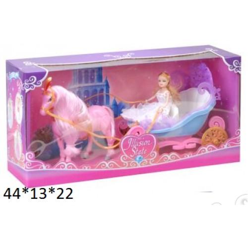 20816 Карета 28922B с лошадью и куклой батар.муз.2цв.кор.44*13*22 ш.к./24/