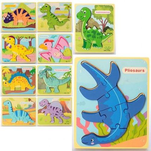 Деревянная игрушка Пазлы MD 2510 (100шт) динозавры, 9видов, в кульке, 18-15-1см