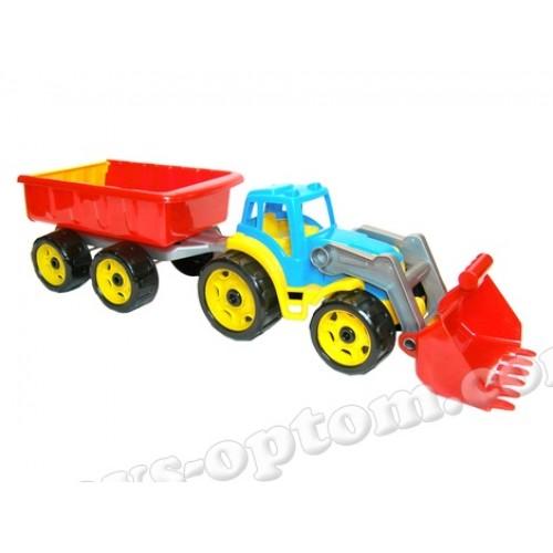 """3688 Игрушка """"Трактор с ковшом и прицепом ТехноК"""""""