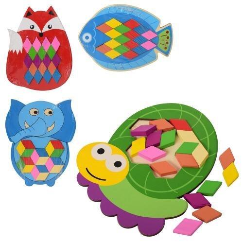 Деревянная игрушка Рамка-вкладыш MD 2044 (120шт) животные, 22см, 4вида, в кор-ке, 17,5-22-1см