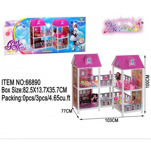32168 Кукольный дом 66890 с куклами,мебелью,аксес.кор.84*14*36/3/