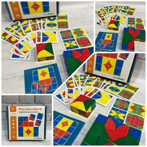 Деревянная игрушка Геометрика MD 2466 (30шт) карточки, фигуры, в кор-ке, 20-18,5-4см